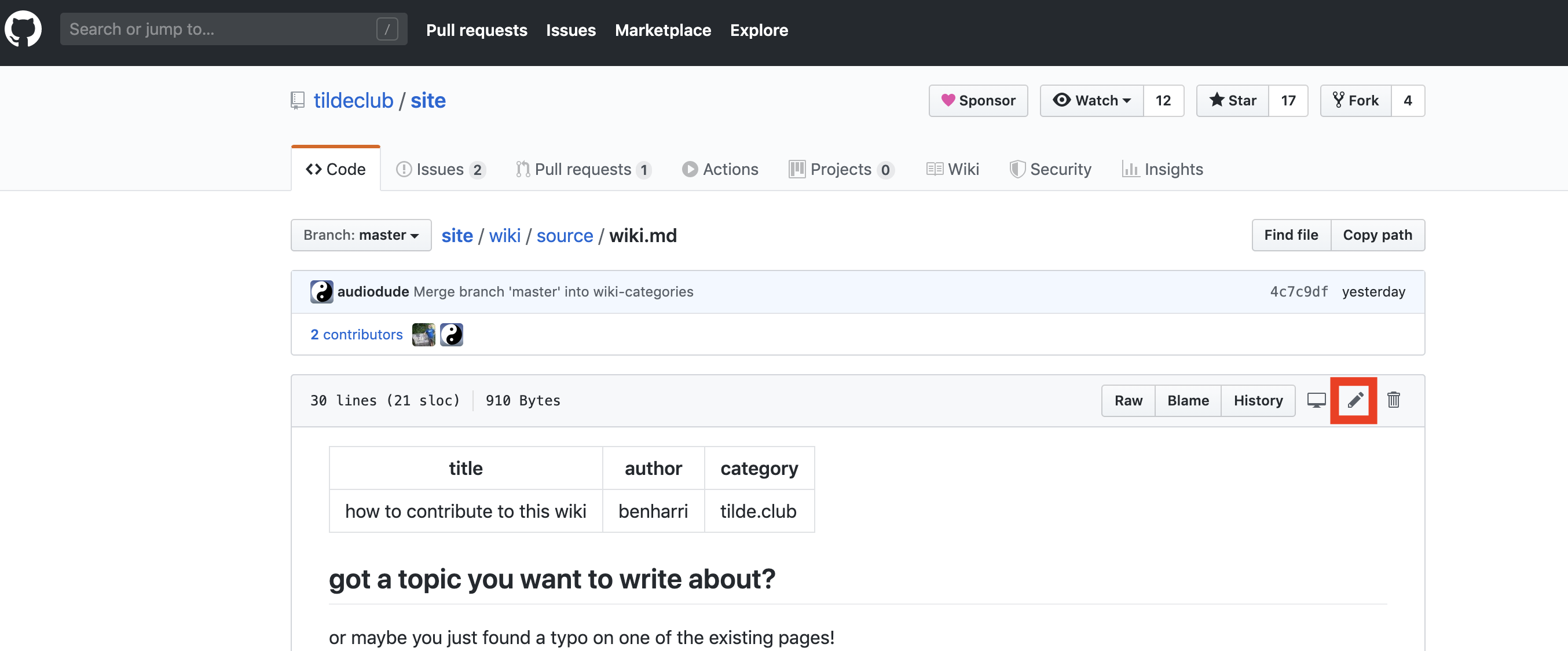 screenshot of github article edit button